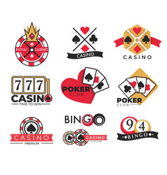 Casino club isolated icons gambling and bingo vector