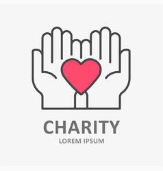 charity line icon symbol solidarity help vector image