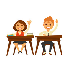Children sit at wooden desks and raise hands vector