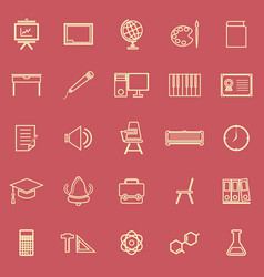 Classroom line color icons on red background vector