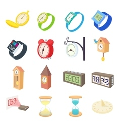 Clock and watch icons set cartoon style vector