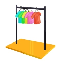 Clothes hanging on the rack icon cartoon style vector
