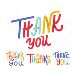 Collection four custom colorful thank you word vector