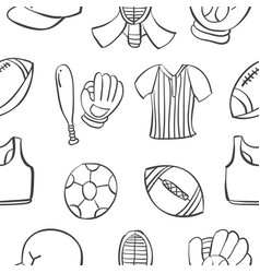 Collection stock sport equipment doodle style vector