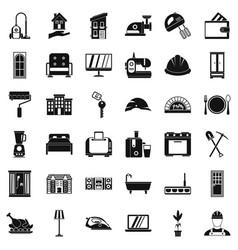 Comfortable place icons set simple style vector