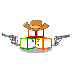 Cowboy bright toy block bricks on cartoon vector