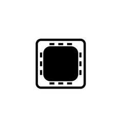 cpu on motherboard hardware chip flat icon vector image