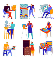 creative professions icons set vector image