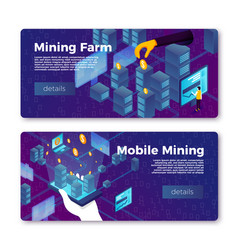 cryptocurrency mobile mining farm banners vector image