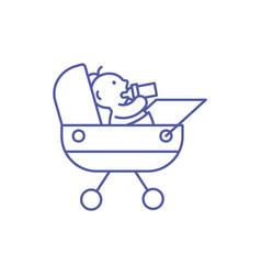 Cute baboy inside stroller design vector
