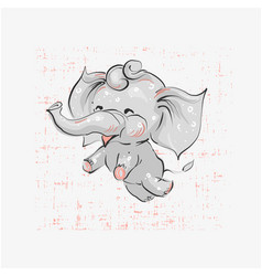 Cute elephant flying hand drawn vector