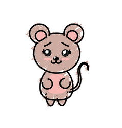 Cute mouse wild animal with face expression vector