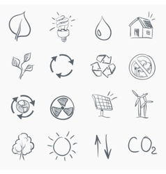 Eco sketch icon set vector