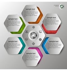 embossed infographics in 6 steps vector image