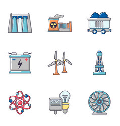 energy century icons set cartoon style vector image