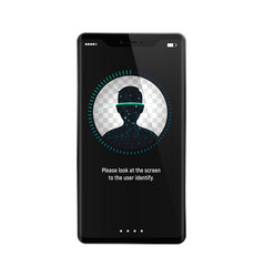 Facial recognition system on smartphone concept vector