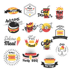 Fast food hand drawn logos vector