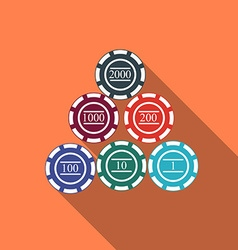 Flat design gambling chips icon with long shadow vector image