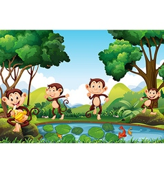Four monkeys by the pond vector image