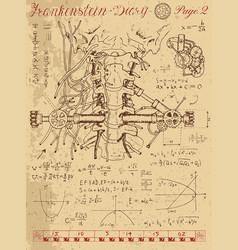 frankentsein diary with human anatomy throat vector image