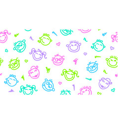 funny faces seamless pattern vector image
