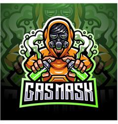 Gas mask esport logo mascot design vector