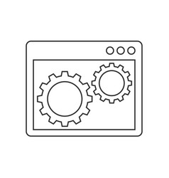 gears inside browser window line icon vector image