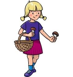 Girl picking mushrooms vector