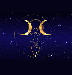 Gold spiral goddess fertility and triple moon vector