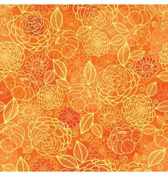 Golden orange floral texture seamless pattern vector image