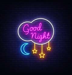 good night neon sign good night neon text vector image