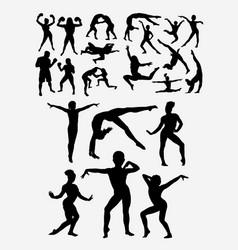 Gymnastic teenager people sport silhouette vector