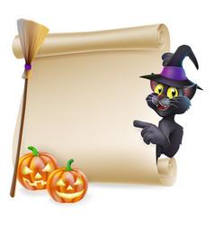 halloween black cat scroll vector image