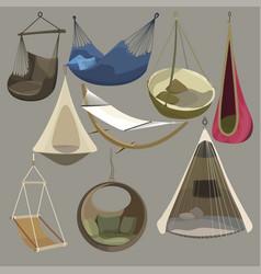 Hammock set furniture collection for rest vector