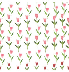 Hand drawn watercolor pink pastel tulips seamless vector