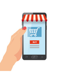 Hand holding smartphone with shopping bag vector