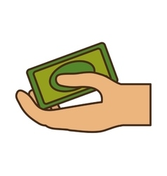 Hand human with bill money dollar isolated icon vector