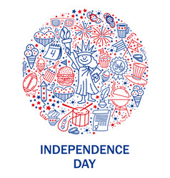 Happy fourth of july card hand drawn decoration vector