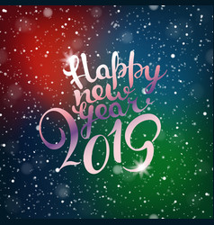 happy new 2019 year snowfall composirion with vector image