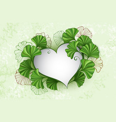 heart with leaves ginko biloba vector image