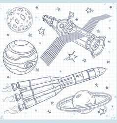 icons satellite space rocket and planets vector image