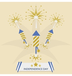 Independence Day with rocket fireworks set vector