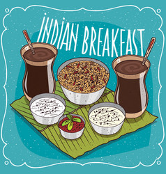 indian breakfast for two persons with muesli vector image