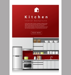 Interior design Modern kitchen banner 1 vector image vector image