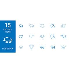 Livestock icons vector