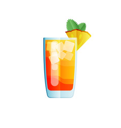 Mai tai cocktail icon on dark background in flat vector