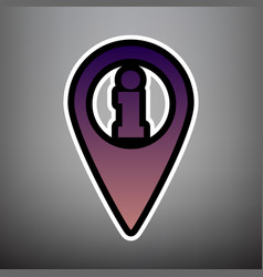 map pointer with information sign violet vector image