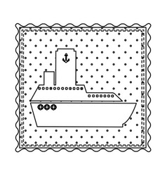 monochrome contour frame of vessel and background vector image