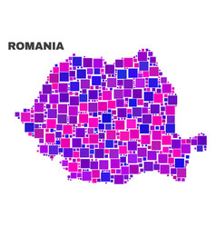 Mosaic romania map of square elements vector