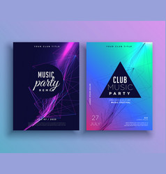 Music party invitation poster template set vector